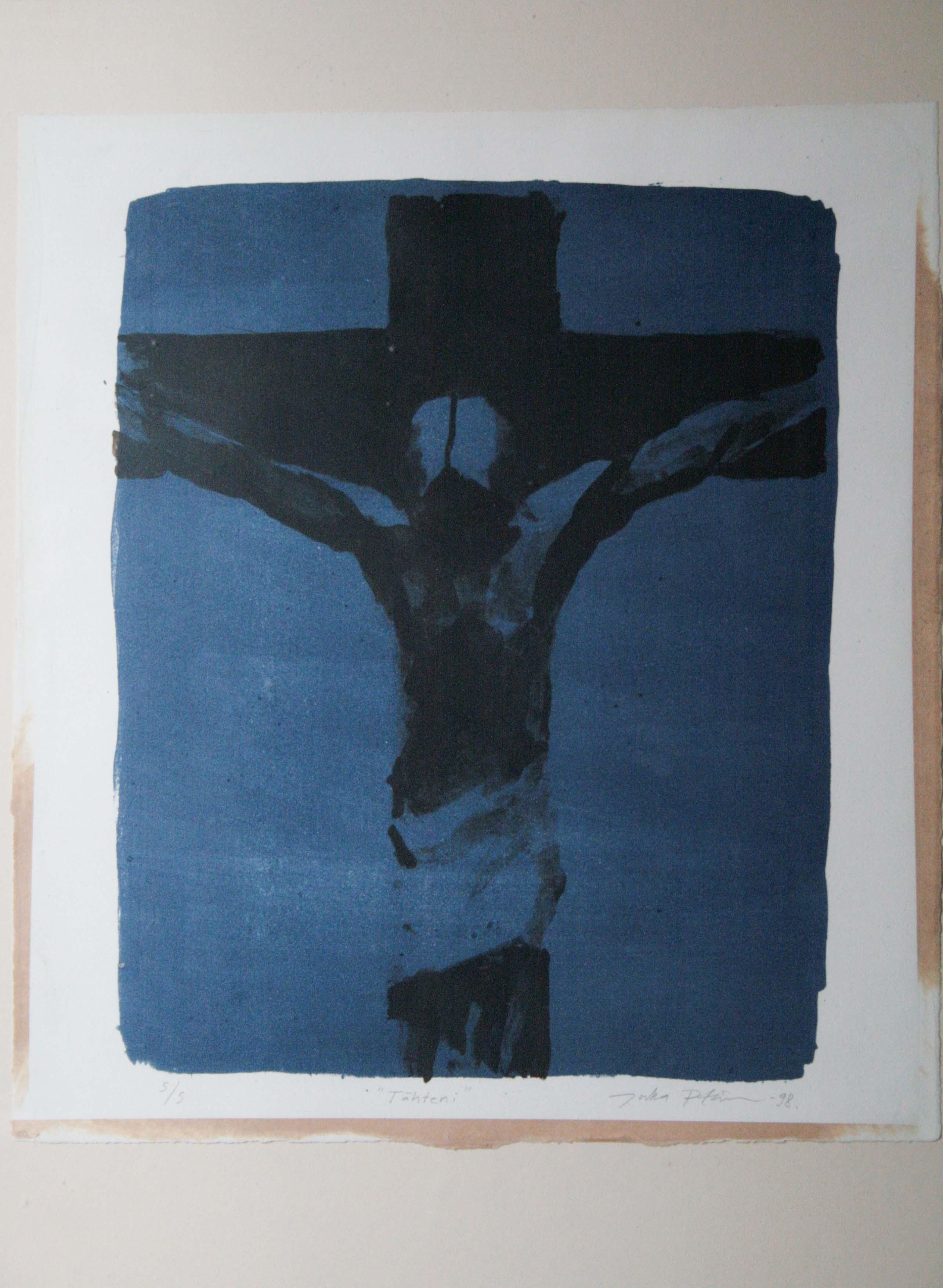 Ristiinnaulittu,34x27cm,litografia5:5,1998,200€