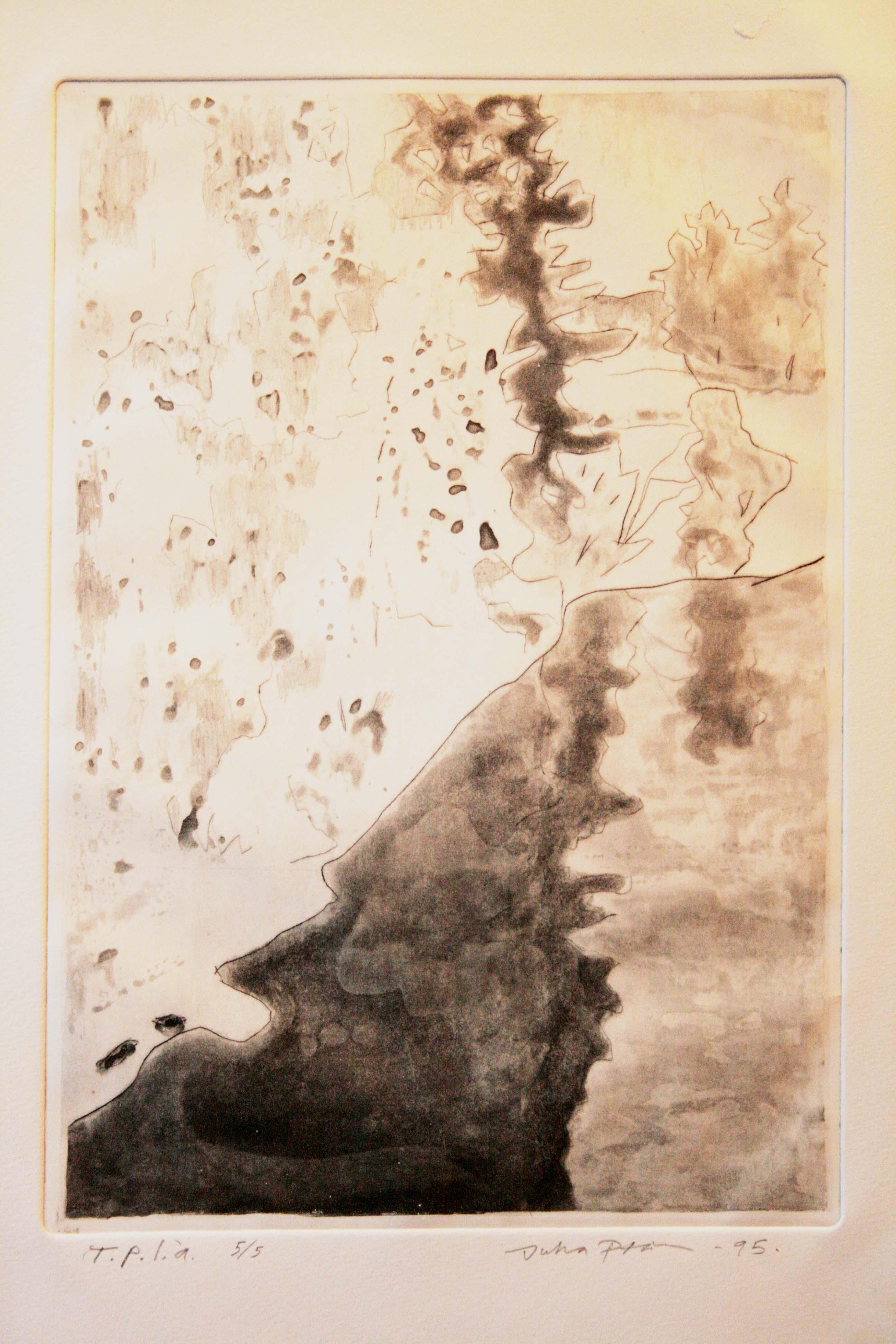 Talvimaisema,31x21cm,kuivaneula,etsaus,1995