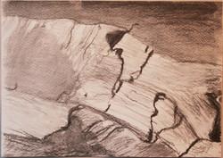 Halkeamia hirressä,20,5x29,5cm,hiili,1996