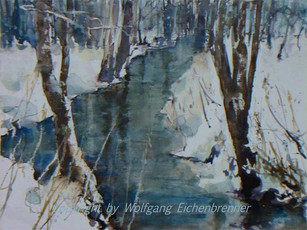 Bach im Winter 2014 45 x 32 cm Aquarell