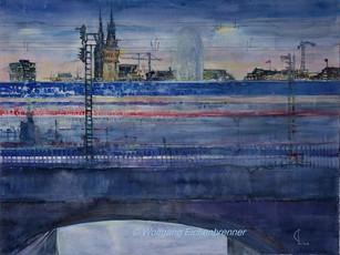 Hamburg, blaue Stunde, 2016, Aquarell