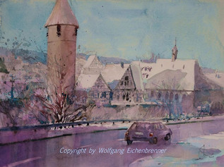 Winter, Weil der Stadt 2004 45 x 32 cm Aquarell