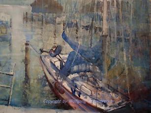 Am Yachthafen, Chiemsee, 2014 45 x 32 cm, Aquarell