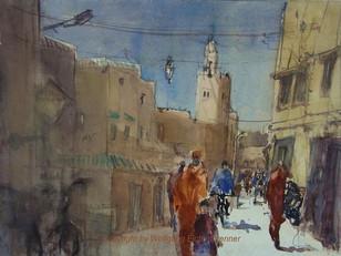 Avenue Bir Zaran I, Taroudannt, Marokko, 2012 45 x 32 cm Aquarell