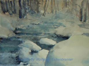 Winter am Bach 2014 45 x 32 cm Aquarell