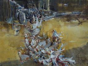 Freilaufende Hühner, 2007 35 x 25 cm Aquarell