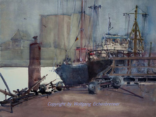 Beim Museumshafen I, Flensburg 2007 45 x 32 cm Aquarell