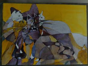 Katzen II, 2009 45 x 32 cm Aquarell