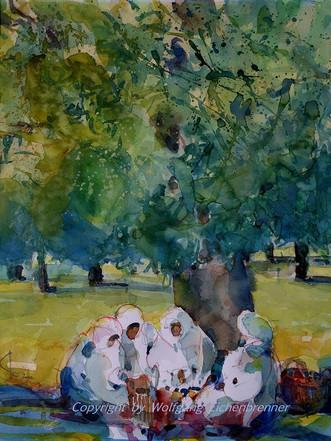 Pause bei der Olivenernte, 2002 32 x 45 cm, Aquarell