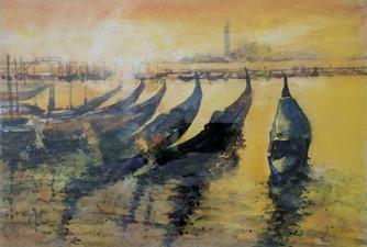 Morgenrot Gondole, Venedig, Aquarell