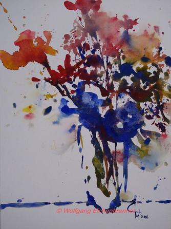 Mit blauen Blüten, 2016, Aquarell