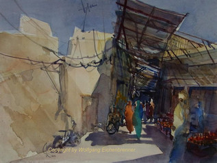 In den Souks von Taroudannt, Marokko, 2012 45 x 32 cm Aquarell