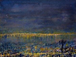 Nächtliches Locarno, 2014 45 x 32 cm Aquarell