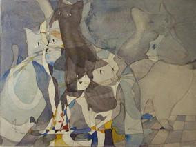 Katzen I, 2009 45 x 32 cm Aquarell