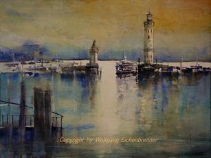 Hafeneinfahrt Lindau, 2014 45 x 32 cm Aqarell