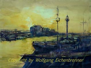 Abendlicht im Hafen, 2013 45 x 32 cm Aquarell