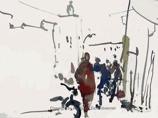 Durch die Gassen von Taroudannt II, Maroko 2012 45 x 32 cm Aquarell