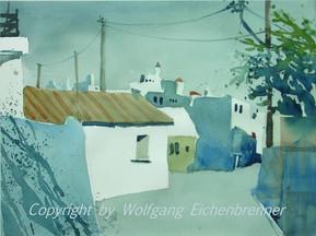 Dorfstraße auf Rhodos, 2002 35,5 x 25,5 cm Aquarell