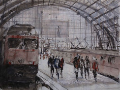 Bahnhof, 2014 64 x 48 cm Zeichnung Aquarell