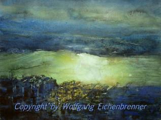 Letztes Licht am Fluß, 2013 45 x 32 cm Aquarell