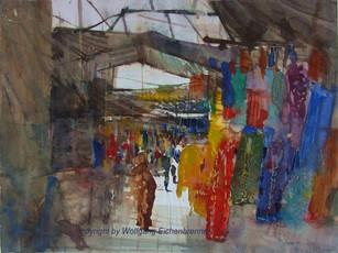 Kleidermarkt, Taroudannt, Marokko, 2012 45 x 32 cm Aquarell