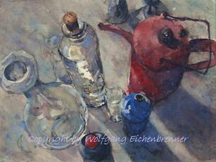 Stillleben mit roter Kanne, 2010 45 x 32 cm Aquarell