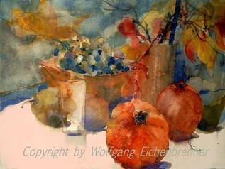 Stillleben mit Granatäpfeln, 2007 45 x 32 cm Aquarell