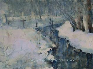 Winter am Bach 2015 45 x 32 cm Aquarell