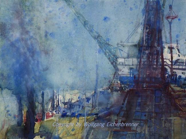 Kleine Werft am Bodensee, 2004 45 x 32 cm, Aquarell