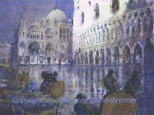 Aqua alta am Palazzo Ducale, Venedig 2013 64 x 48 cm Aquarell