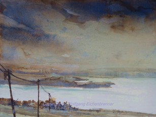Blick von der Seiser-Alm auf den Chiemsee I, 2015, 45 x 32 cm, Aquarell
