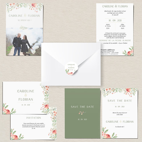 Kit annonce mariage à imprimer -  Flower green