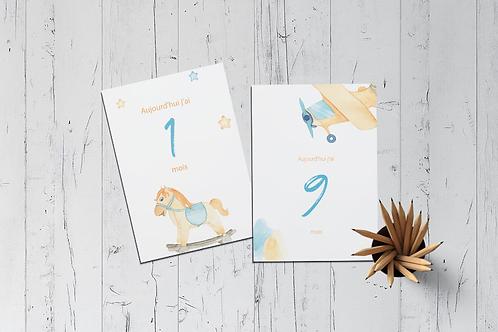 Kit 12 cartes étapes bébé collection Baby Boy aquarelle