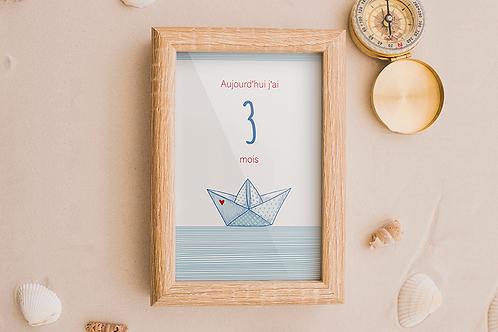 Kit 12 cartes étapes bébé collection Marin d'eau douce