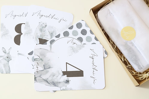 Kit 12 cartes étapes bébé collection Classic Black and white