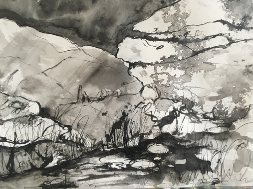 pen and wash sketch Trencrom Hill.jpg