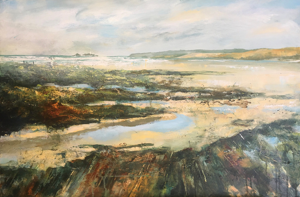 Rockpools with Godrevy Lighthouse