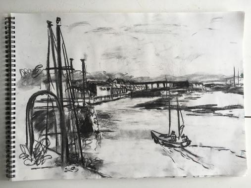 charcoal sketch Hayle estuary.jpg