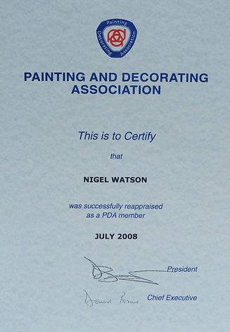PDA reappraisal certificate
