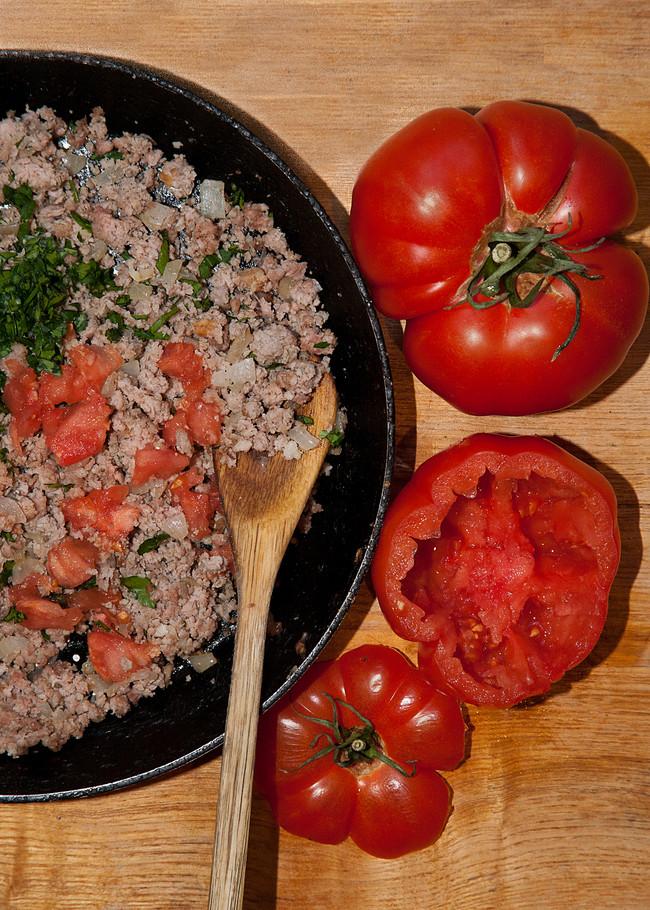 Tomatoes, stuffed - nursery food for grown-ups!
