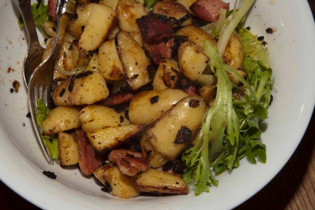 Salad of Hot potatoes, Leaves, Bacon & Onions