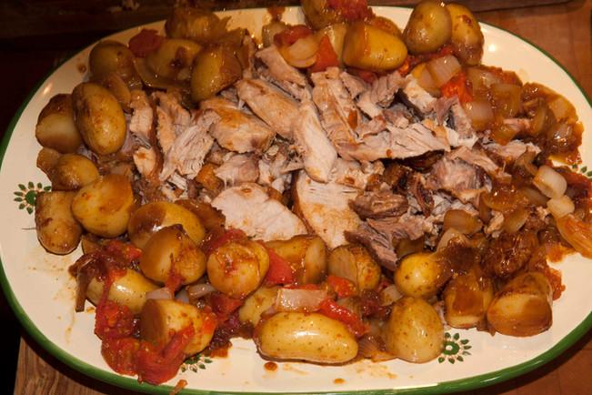 Roast Pork with Tomatoes,Onions & Potatoes