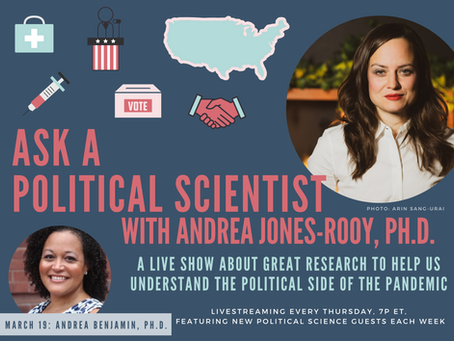 Ask A Political Scientist: FREE Weekly Livestream Show from Andrea Jones-Rooy and CAVEAT NYC