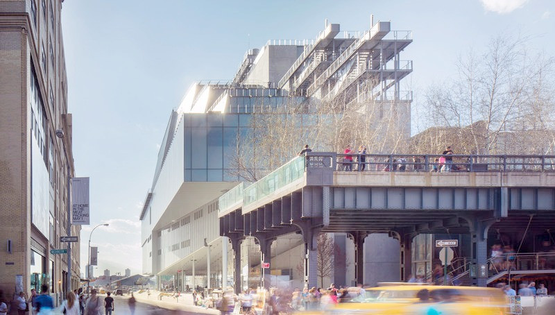 The Whitney Museum in New York city by architect Renzo Piano with the High Line in the foreground.