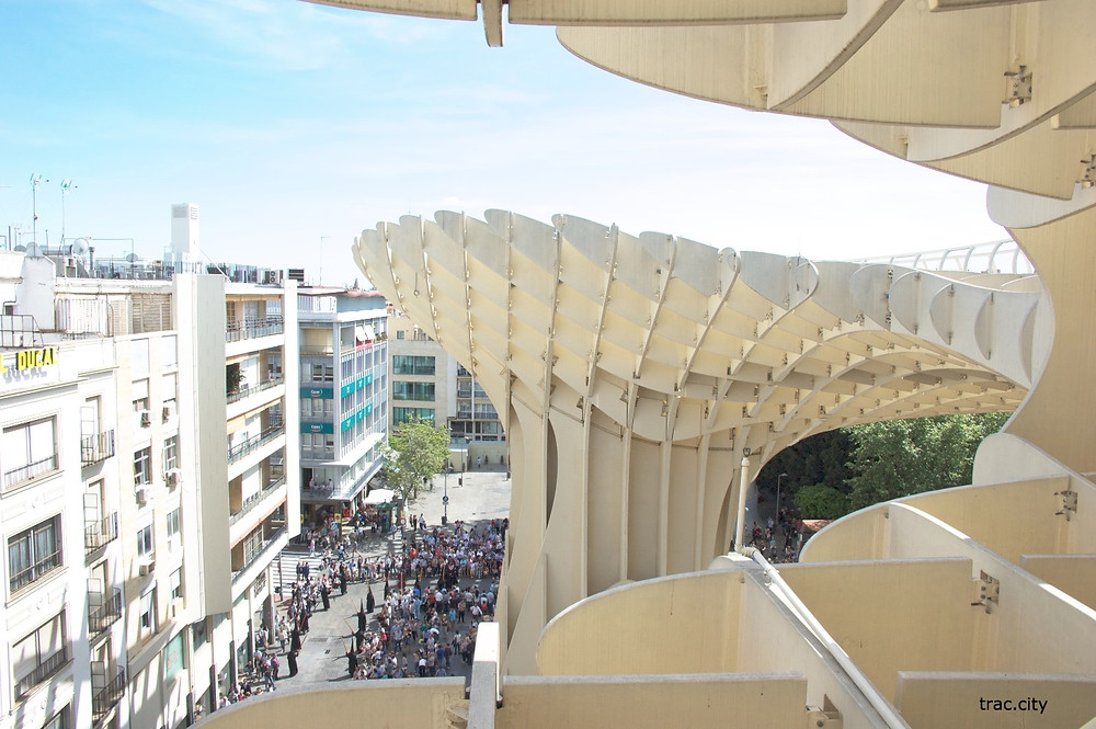 A view of a procession from the Metropol Parasol in Sevilla.