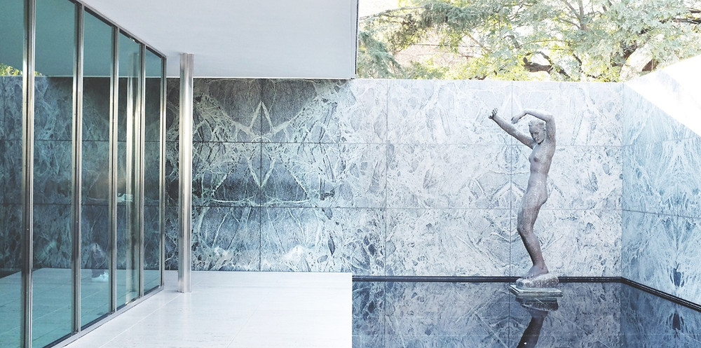Mies van der Rohe's Barcelona Pavilion for the International Exposition defines Modernism.