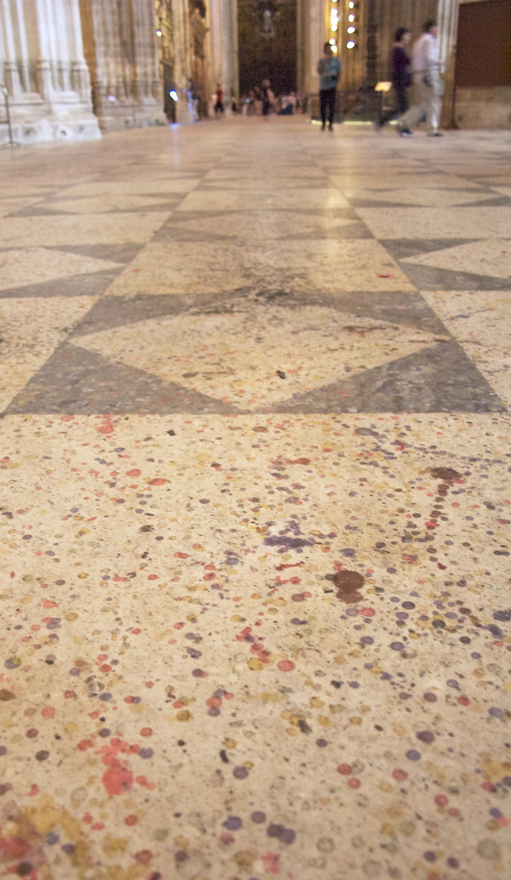 The wax dippings on the floor of the Cathedral in Seville
