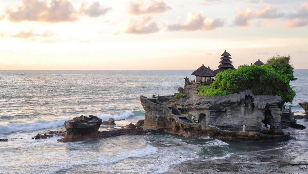 The Tanah Lot Temple along Bali's western shore