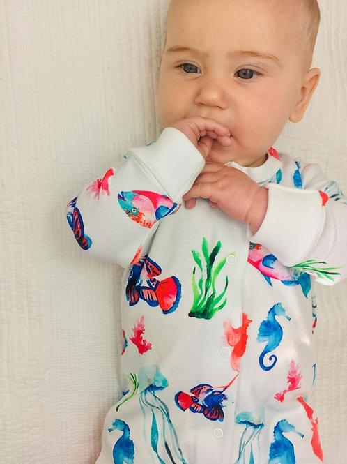 Fish Organic Cotton Sleepsuit