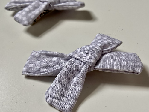 Grey & White Mini Fabric Bows
